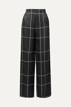 Equipment Berneen Checked Satin Wide-leg Pants - Black