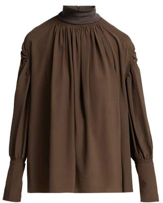 Chloé Ribbed Neck Silk Blouse - Womens - Dark Brown