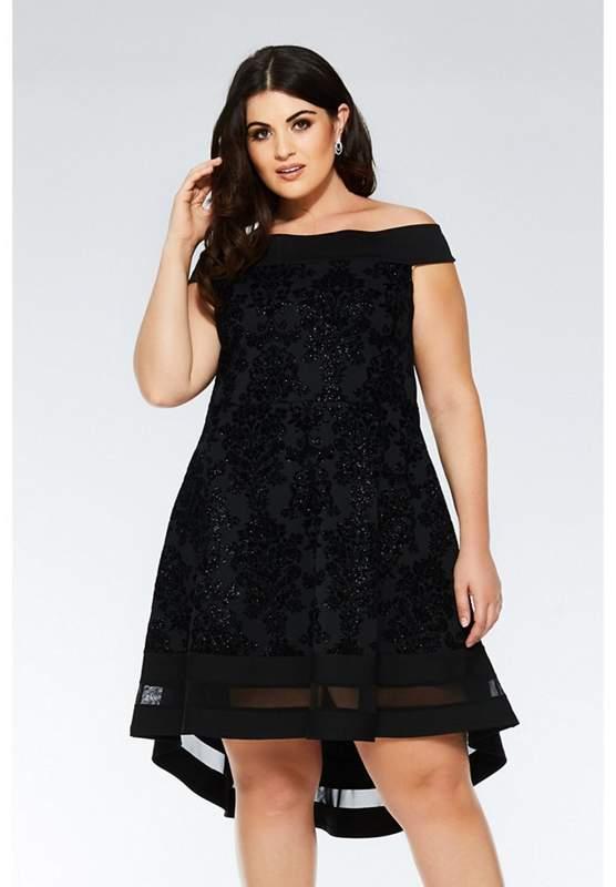 Curve Bardot Glitter Dip Hem Dress
