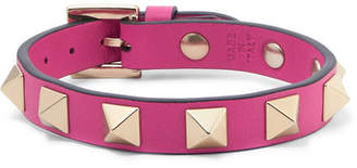 Valentino Garavani The Rockstud Leather And Gold-tone Bracelet - Pink
