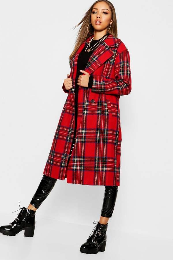 Tartan Check Oversize Wool Coat