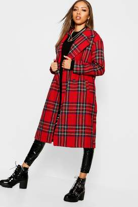 boohoo Tartan Check Oversize Wool Look Coat