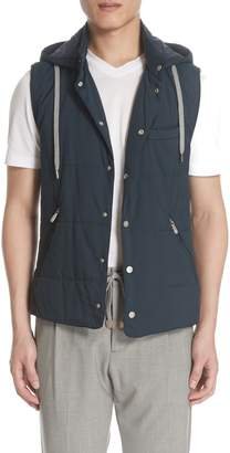 Eleventy Quilted Vest with Detachable Hood