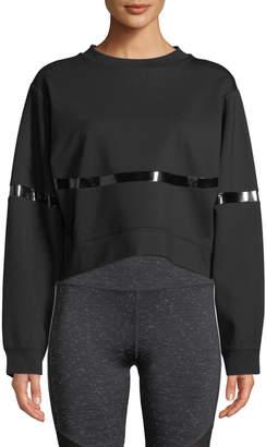 Nylora Campbell Crewneck Cropped Sweatshirt with Patent-Stripe