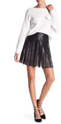 Alice + Olivia Timika Studded Leather & Lace Skirt