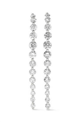 Anita Ko Long Cascade 18-karat White Gold Diamond Earrings