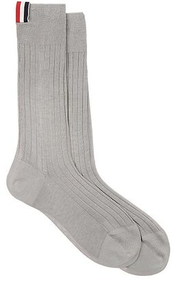 Thom Browne Men's Ribbed Cotton Mid-Calf Socks $90 thestylecure.com