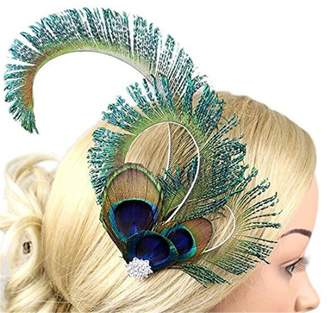 Yiweir Women Fashion Peacock Feather Headdress Accessory Facinator Wedding Party