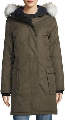 Nobis Abby Knee-Length Coat with Fur Hood