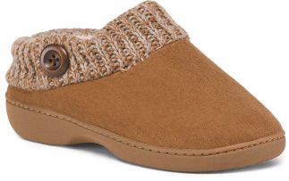 Faux Suede Slipper With Sweater Collar And Button Detail