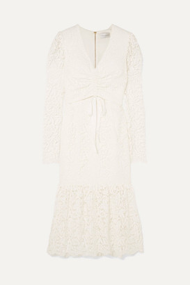 Rebecca Vallance Le Saint Ruched Lace Dress - Ivory