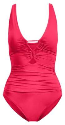 Ralph Lauren Keyhole-Front One-Piece Rasberry 12
