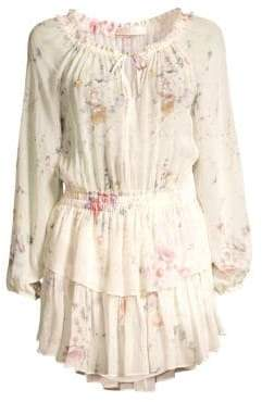 LoveShackFancy Women's Popover Floral Silk Mini Dress - Monticello - Size XS