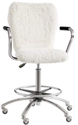 Pottery Barn Teen Tall Ivory Sherpa Faux-Faux-Fur Airgo Armchair