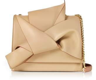 N°21 N.21 N21 Nude/bois De Rose Nappa Leather Large Bow Bag W/shoulder Strap