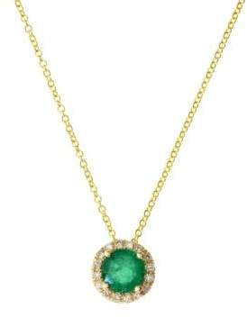 Effy Brasilica Diamond, Natural Emerald and 14K Yellow Gold Pendant Necklace