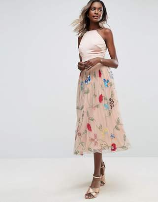 Asos DESIGN Embellished Tulle Prom Midi Skirt