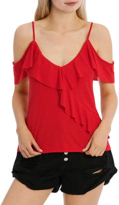 Miss Shop Ruffle Off Shoulder Cut and Sew Top