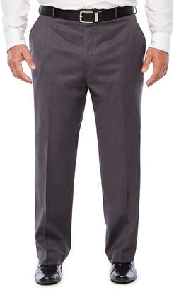 STAFFORD Stafford Medium Grey Travel Woven Suit Flat Front Pants-Portly