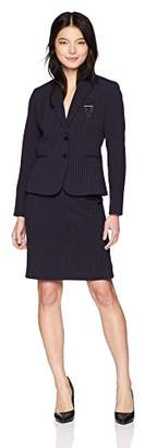 Tahari by Arthur S. Levine Women's Petite 2 Button Notch Collar PIN Detail Stripe Skirt Suit