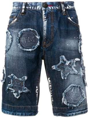 Philipp Plein distressed patch denim shorts