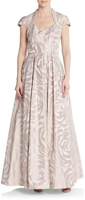 Theia Women's Rose-Print A-Line Gown