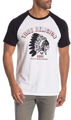 True Religion Short Sleeve Feather Graphic Raglan Tee