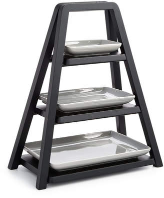 Hotel Collection Modern Wood 3-Tier Server with Porcelain Plates