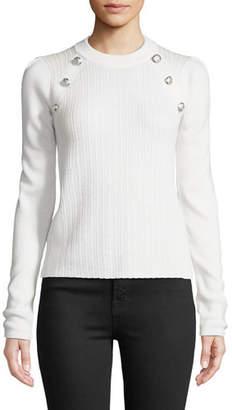 Veronica Beard Simi Wool Button-Shoulder Raglan Sweater