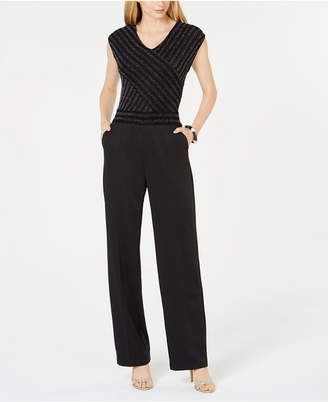 NY Collection Petite Wide-Leg Glitter-Top Jumpsuit