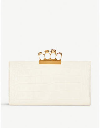 Alexander McQueen White Knuckleduster Crocodile Embossed Leather Clutch Bag