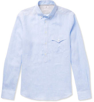 Brunello Cucinelli Button-Down Collar Striped Linen Half-Placket Shirt