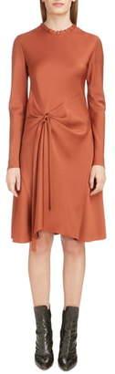 Chloé Gather Waist Long Sleeve Satin Dress