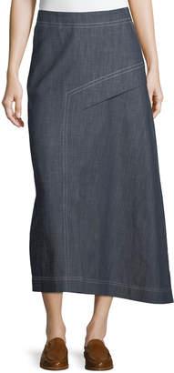 Tibi Asymmetric A-Line Midi Denim Skirt