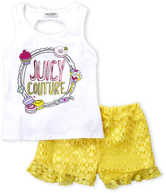 Juicy Couture Girls 4-6x) Two-Piece Sweet Treats Tank & Lace Shorts Set