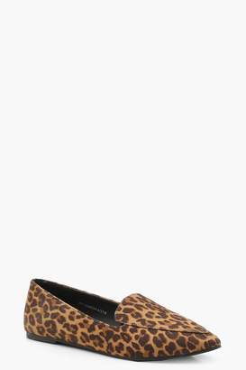 boohoo Leopard Pointed Slipper Ballets