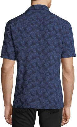Neiman Marcus Palm-Leaf Print Short-Sleeve Sport Shirt