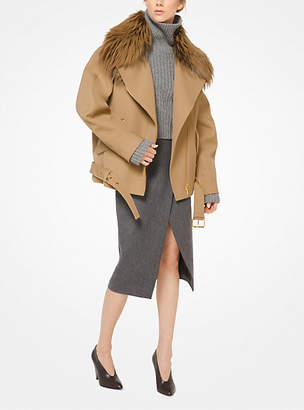 Michael Kors Bonded Wool Jacket With Fox Collar