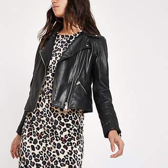 River Island Black leather fitted biker jacket