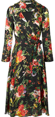 Alice + Olivia Abney Floral-print Burnout-chiffon Wrap Dress - Black