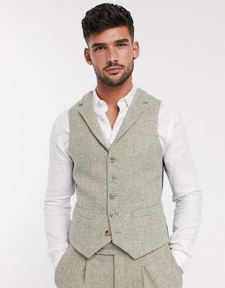 Asos Design DESIGN slim suit suit vest in 100% wool Harris Tweed in stone herringbone