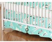 SheetWorld Crib Skirt - Modern Safari Animals Aqua
