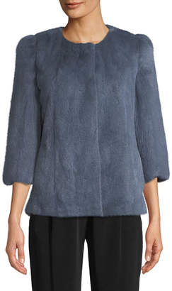 Co Collarless 3/4-Sleeve Mink Jacket