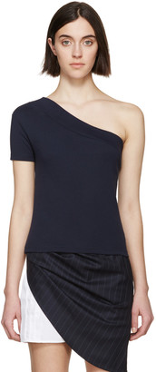 Jacquemus Navy Single Sleeve T-Shirt $115 thestylecure.com