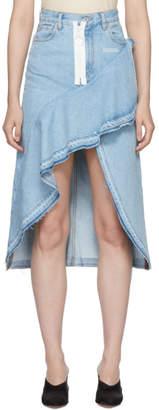 Off-White Blue Denim Ruffles Skirt