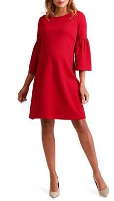 Ingrid & Isabel R) Ponte Knit Bell Sleeve Maternity Dress