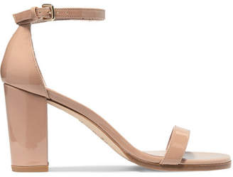 Stuart Weitzman - Nearlynude Patent-leather Sandals - Neutral $400 thestylecure.com