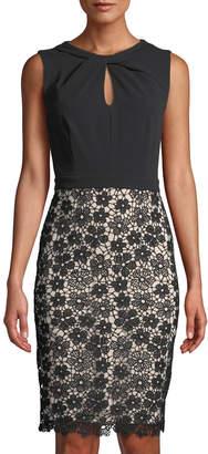 Karl Lagerfeld Paris Knot-Neck Lace-Skirt Cocktail Dress