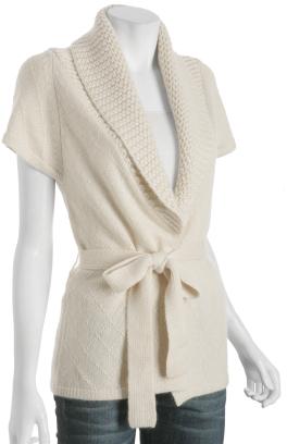 Wendy Katlen ivory diamond pattern belted wrap cardigan
