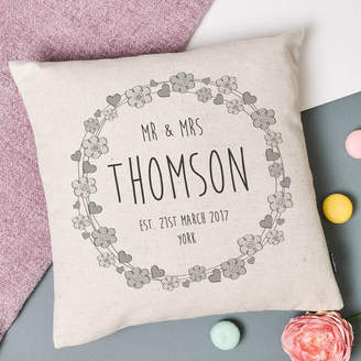Vintage Designs Reborn 'Hearts And Flowers' Mr And Mrs Wedding Cushion Cover